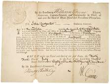 287: 1780 RI Military Comm. Signed by Gov. Greene