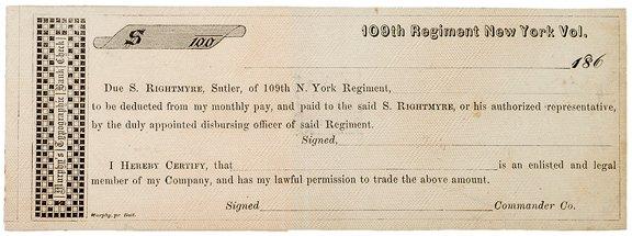 404: 1860's New York Sutler Form