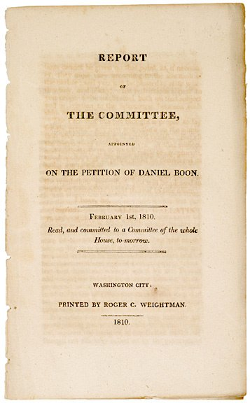 2006: PETITION OF DANIEL BOONE, COMMITTEE REPORT, 1810