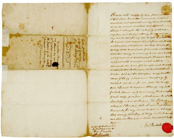 2007: JOHN BRADSTREET, Signed Document, 1764