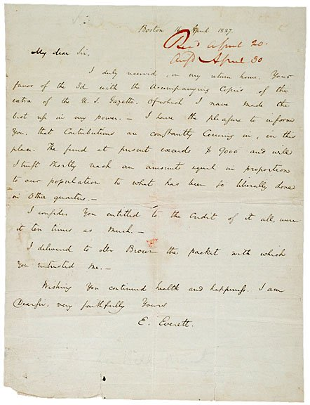 2009: EDWARD EVERETT, Autograph Letter Signed, 1827