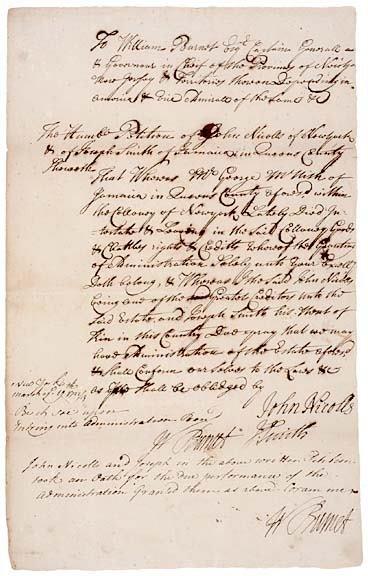 2010: WILLIAM BURNET, Twice Signed Document - 1723