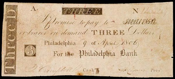 2013: Obsolete Currency,1806, The Philadelphia Bank, $3
