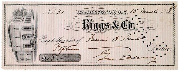 2016: GEORGE DEWEY, Check Signed, 1893
