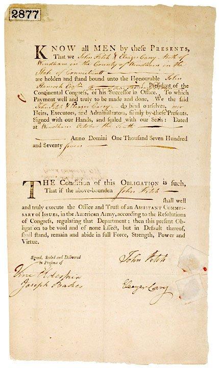 2019: JOHN FITCH, Signature on a Debtor Bond, 1777