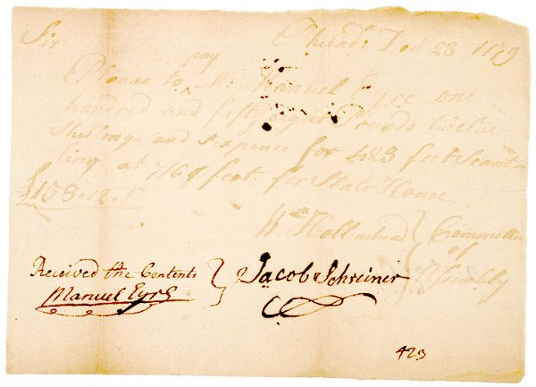 2024: Receipt for Repairing Independence Hall, 1779