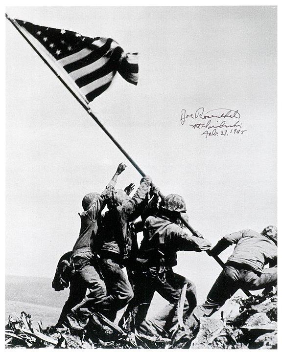 2033: JOE ROSENTHAL, Signed Iwo Jima Reprint Image