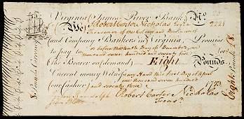 2258 Note Signed by Both Peyton Randolph  John Blair