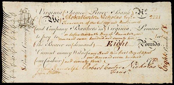 2258: Note Signed by Both Peyton Randolph & John Blair