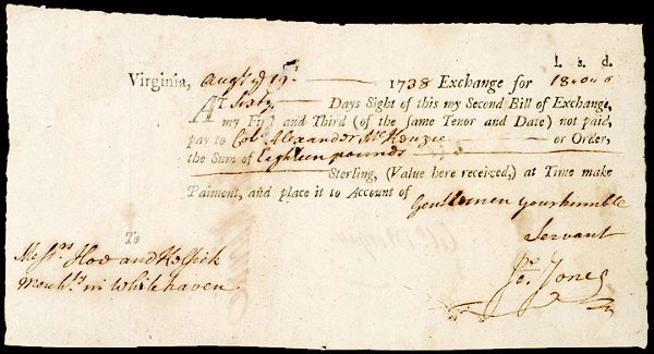 2360: Colonial Currency, VA, 1738, 18 Pounds