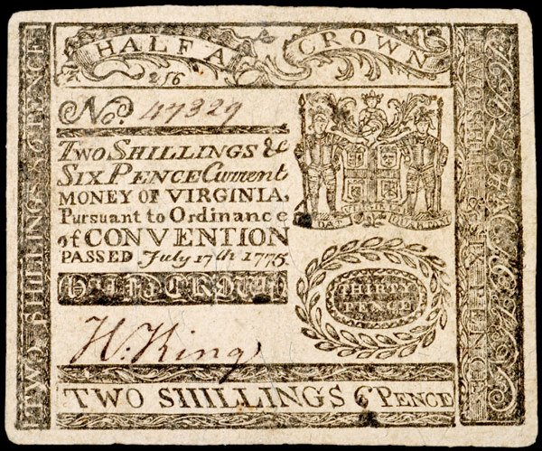 3141: Colonial Currency, VA, July 17, 1775, 2s6d
