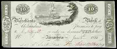 3187: Obsolete Currency, DC, Merchants, Alexandria,$10