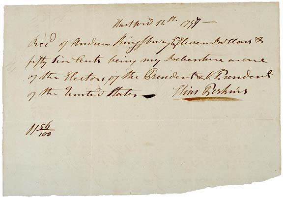 1: (JOHN ADAMS) 1797 Pay Receipt, President Elector