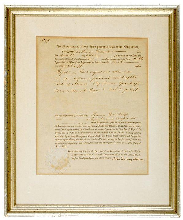 3: JOHN QUINCY ADAMS, Document Signed, 1822