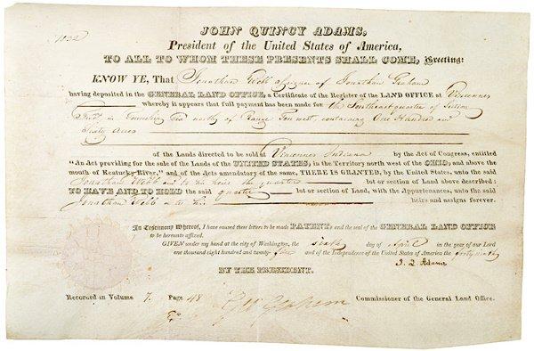 4: JOHN QUINCY ADAMS, Document Signed, 1825
