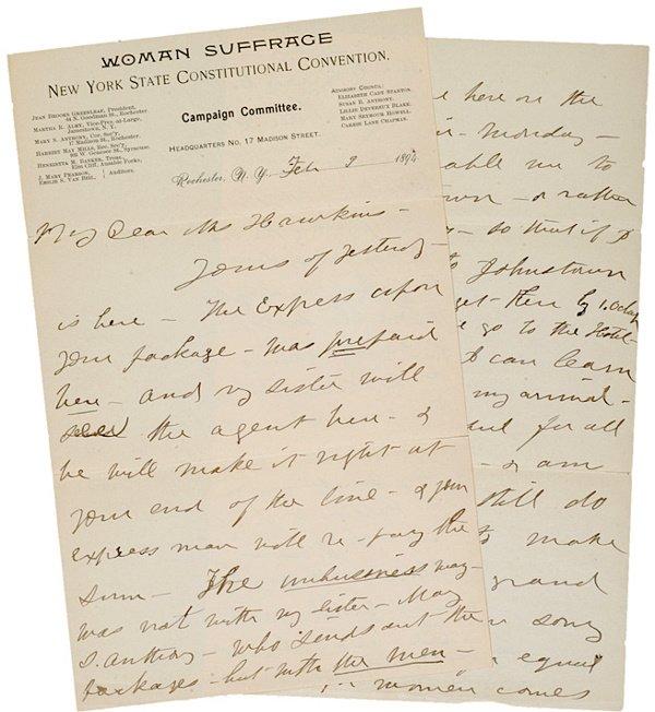 5: SUSAN B. ANTHONY, Autograph Letter Signed, 1894
