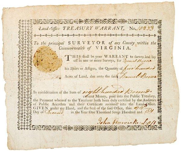 11: DANIEL BOONE, Autograph Document Signed, 1782