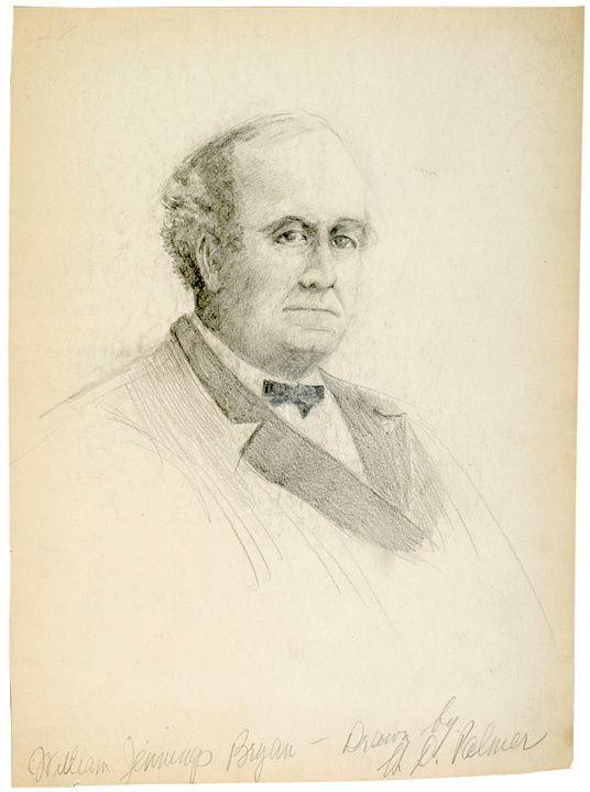 WILLIAM JENNINGS BRYAN, Pencil Bust Drawing 1895