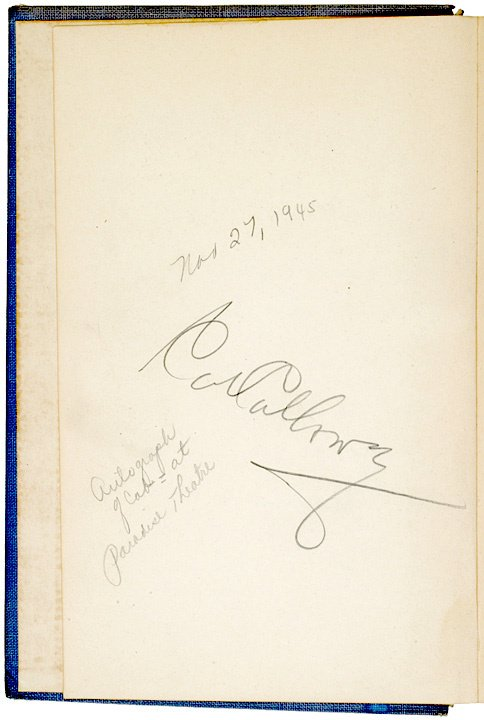 14: CAB CALLOWAY, Book Signed, 1942
