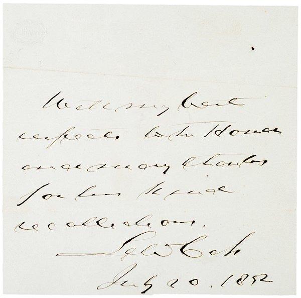 16: LEWIS CASS, Autograph Note Signed, 1852