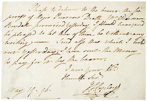 20: JOHN SINGLETON COPLEY, Autograph Note Signed