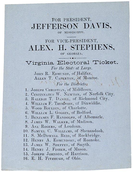 23: JEFFERSON DAVIS Blue Confederate Electoral Ticket