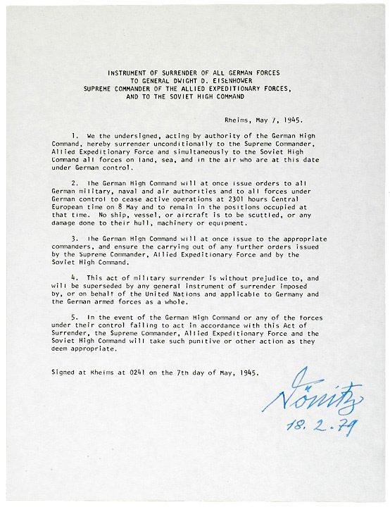 24: KARL DONITZ, Document Signed, 1979