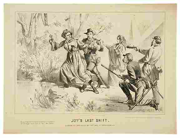 499: 1865 Civil War Lithograph JEFF'S LAST SHIFT