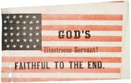 587: 34-Star Paper Mourning Flag for Abraham Lincoln