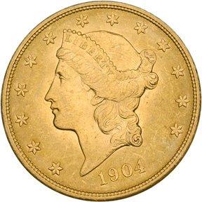 1162: 1904 $20 Gold Liberty Head Double Eagle, MS