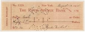 1935 AMELIA EARHART Signed Check PSA/DNA Mint 9
