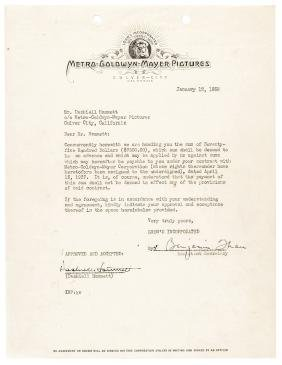 1938 DASHIELL HAMMETT Typed Signed Contract