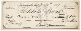 President-Elect BENJAMIN HARRISON Signed Check!