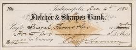 1889 Pres.-Elect BENJAMIN HARRISON Signed Check