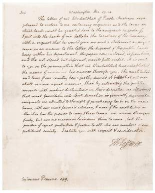 President THOMAS JEFFERSON ALS To Sylvanus Bourne
