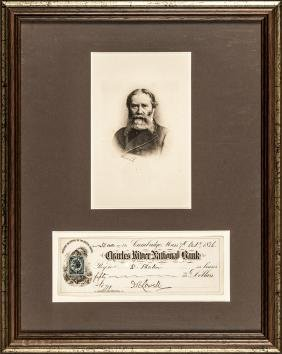 JAMES RUSSELL LOWELL Signed Check + Engraving