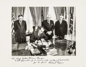 RICHARD NIXON Photograph Signed to WARREN BURGER