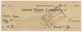 1930 ERNEST (ERNIE) TAYLOR PYLE Signed Check