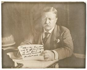 1907 President THEODORE ROOSEVELT Signed Photo!