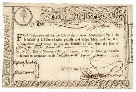 1779 Revolutionary War Mass. Pay to Army Officer