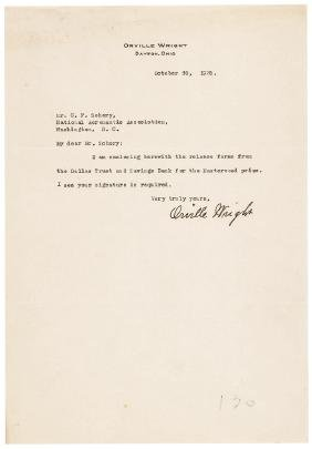 Two Choice 1928 ORVILLE WRIGHT Signed Documents