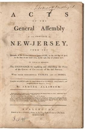 1702 to 1776 General Assembly of New Jersey Acts