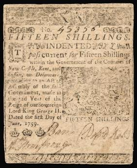 Colonial Currency, BENJAMIN FRANKLIN Printed DE.