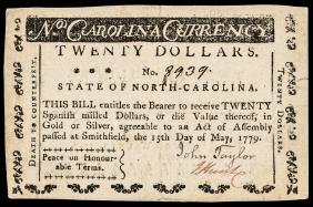 Colonial Currency, NC. May 15, 1779 $20 Ch. EF