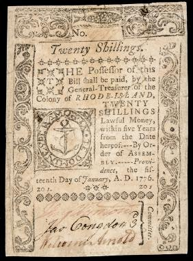 Colonial Currency, RI. January 15, 1776 20s VF