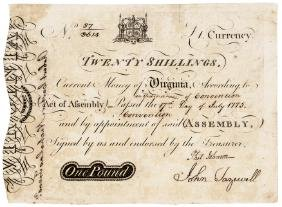 Colonial Currency, VA, July 17, 1775 ASHBY Form
