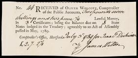 July 3, 1789 CT. Valley Forge Soldier's Receipt