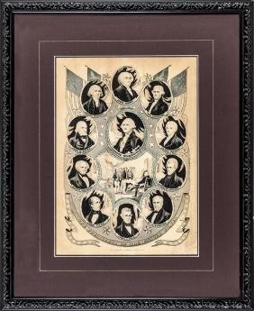 1844 Currier Lithograph of 11 U.S. Presidents