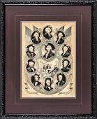 1844 Currier Lithograph of 11 US Presidents