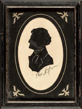 c. 1820 Pres. THOMAS JEFFERSON Framed Silhouette